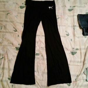 Pink Victoria Secret black flare pants, Sz S